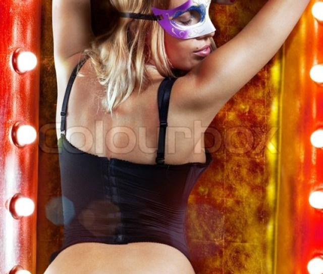 Sexual Beautiful Girl In Carnival Dress At Dressing Room Stock Photo Colourbox