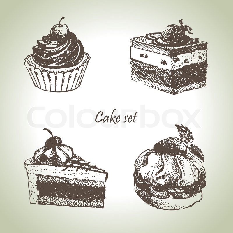 Set Of Cakes Hand Drawn Illustrations Stock Vector