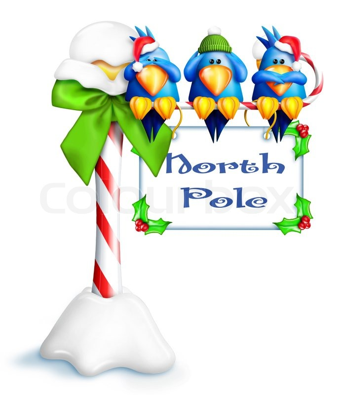Whimsical Cartoon Naughty Birds On North Pole Sign Stock
