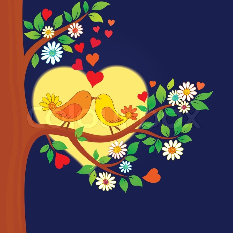 Two Kissing Birds On The Tree Stock Vector Colourbox