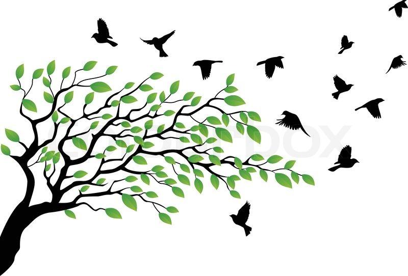 Tree With Bird Flying Stock Vector Colourbox