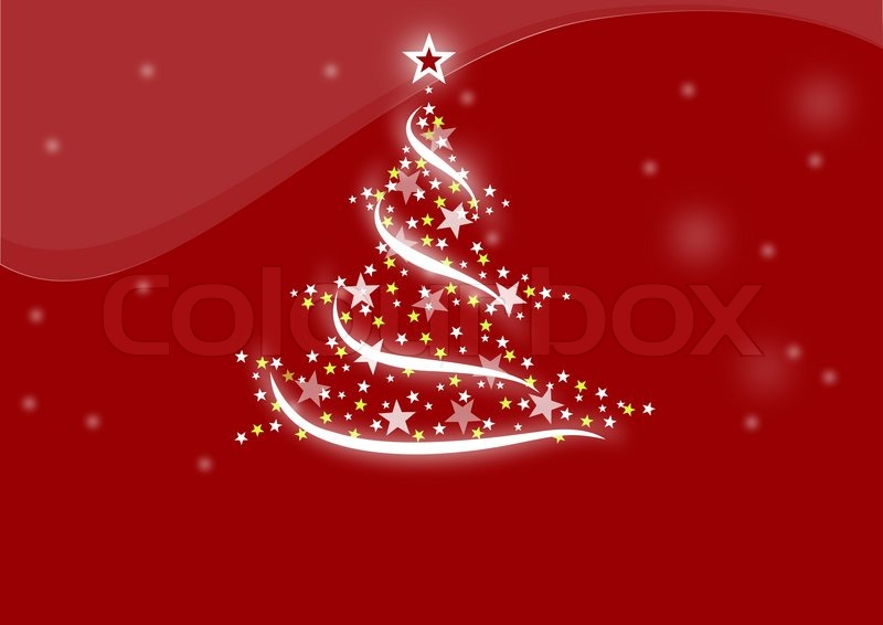 Christmas Tree Red Background Celebration Holiday