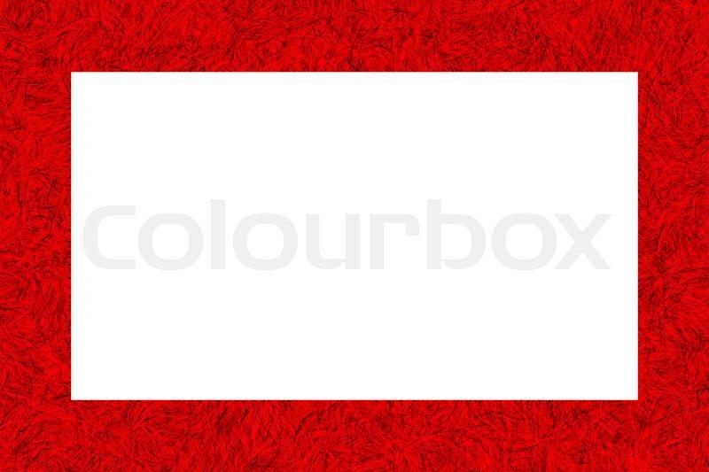 Red Tinsel Texture Frame On White Stock Photo