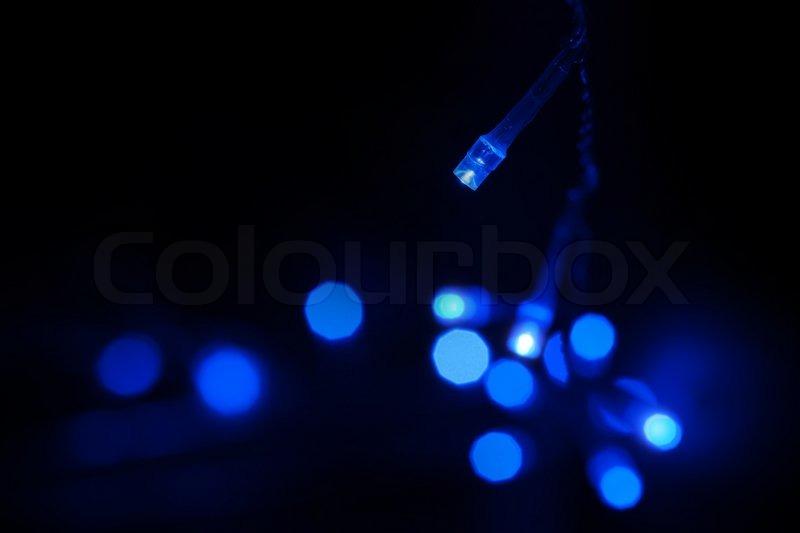 Blue LED Light Emitting Diodes Lights Garland On Black