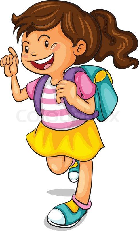A Girl With School Bag Stock Vector Colourbox