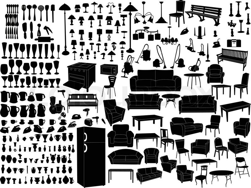 Household Items Silhouette Vector Stock Vector Colourbox