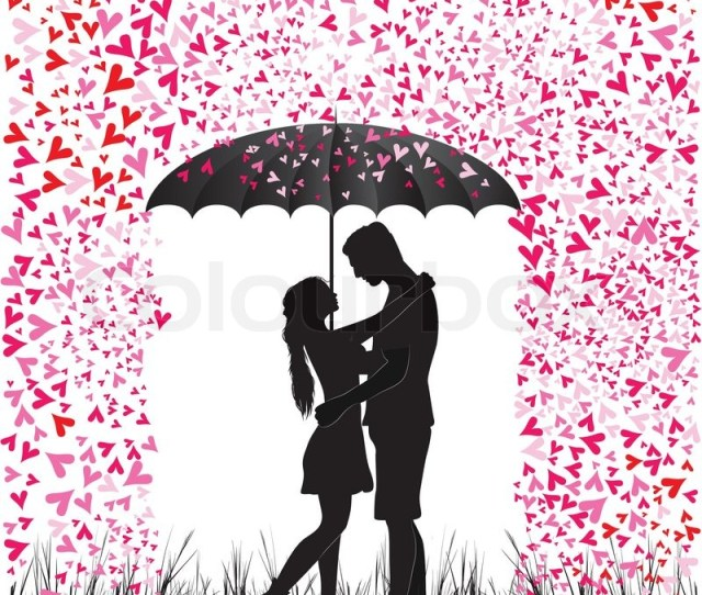 Kissing Couple Heart Rain Man And Stock Vector Colourbox
