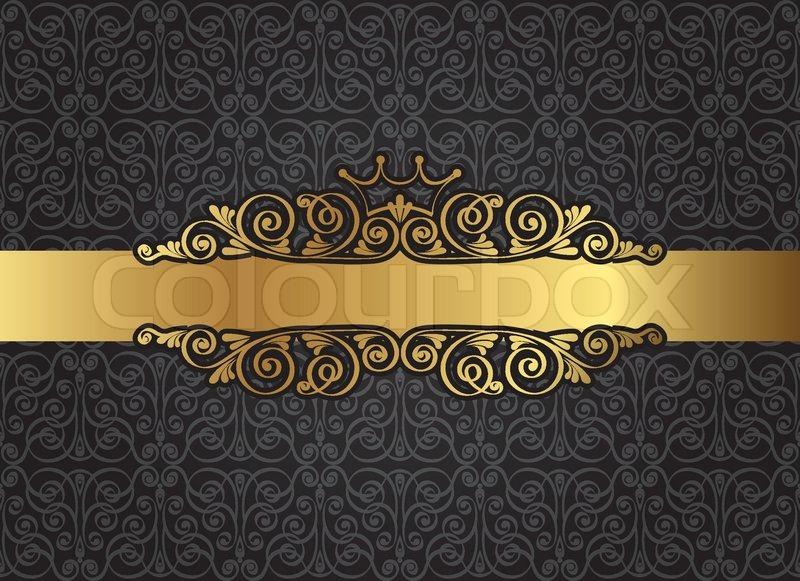 Vintage Gold Frame On Damask Black Background Vector