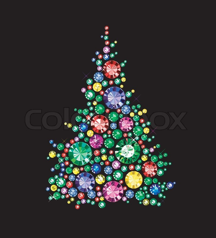 Christmas Tree Made Of Gems Stock Vector Colourbox