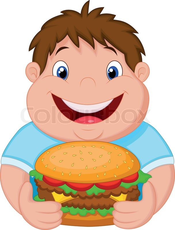 Vector Illustration Of Fat Boy Cartoon Smiling And Ready