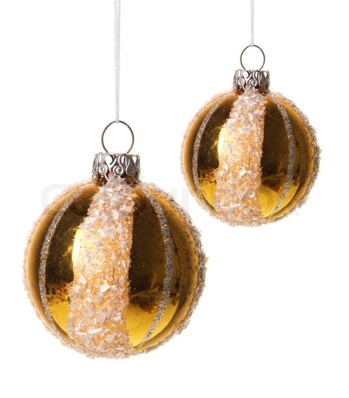 Christmas Baubles Gold Stock Photo Colourbox