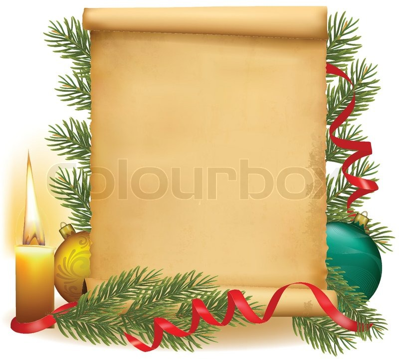 Old Blank Scroll Paper With Christmas Balls And Candle