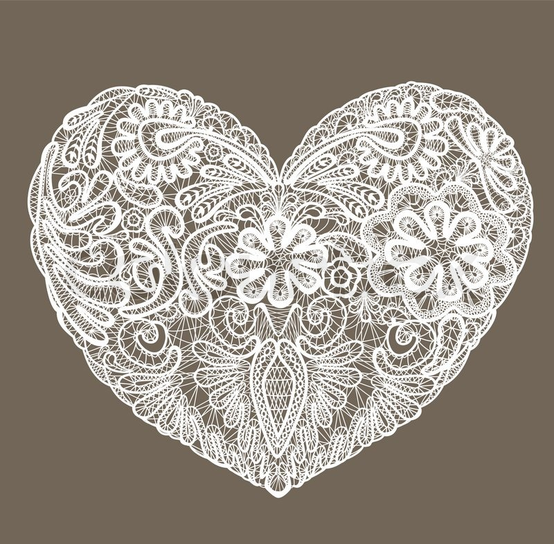 Heart Shape Is Made Of Lace Doily Element For Valentines