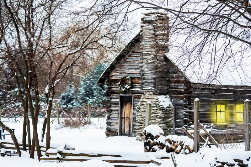 Winter Christmas Scene With A Log Cabin Stock Photo