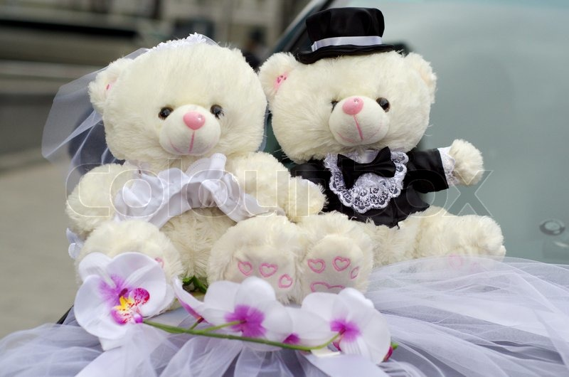 Wedding Car Decoration Couple Of Bears Bride And Groom