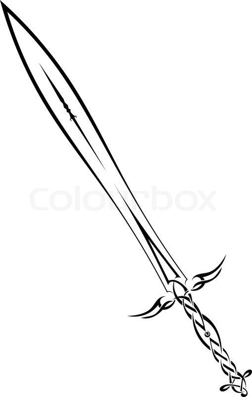 Schwarze Schwert Auf Weiem Vektorgrafik Colourbox