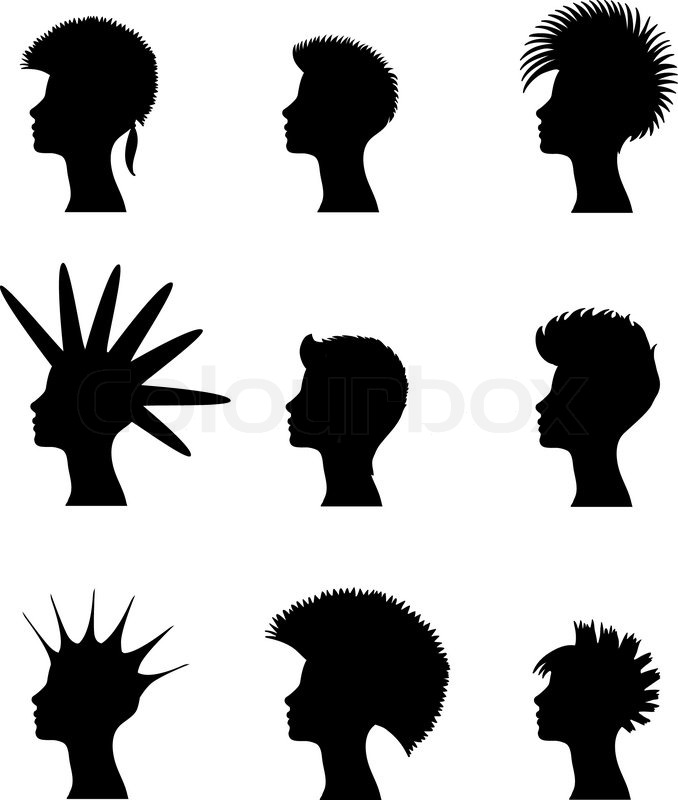 Silhouette Of A Girl With A Set Of Punk Hairstyles Stock
