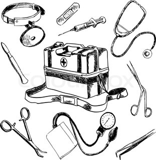 Doctor Medical Case Laboratory Accessories Sketch Icons