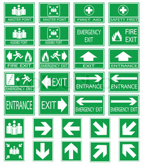 Emergency Exit With Human Figure Sign Icon Door With