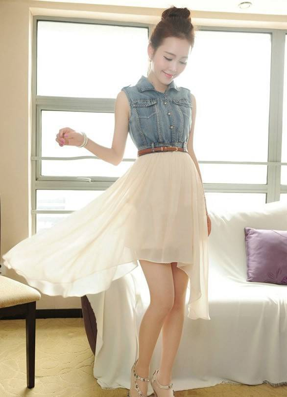 #Free Shipping# Beige Women Casual Sleeveless Splicing Denim And Chiffon Dresses With Belt S/M/L/XL FZ71598be