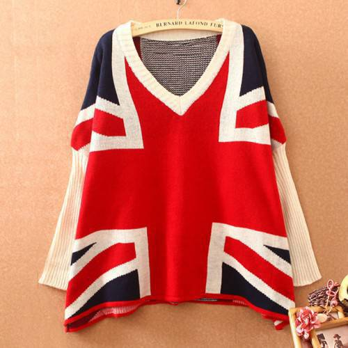 Fashion British Flag Bat Sleeve Loose Sweater just $26 in ByGoods.com