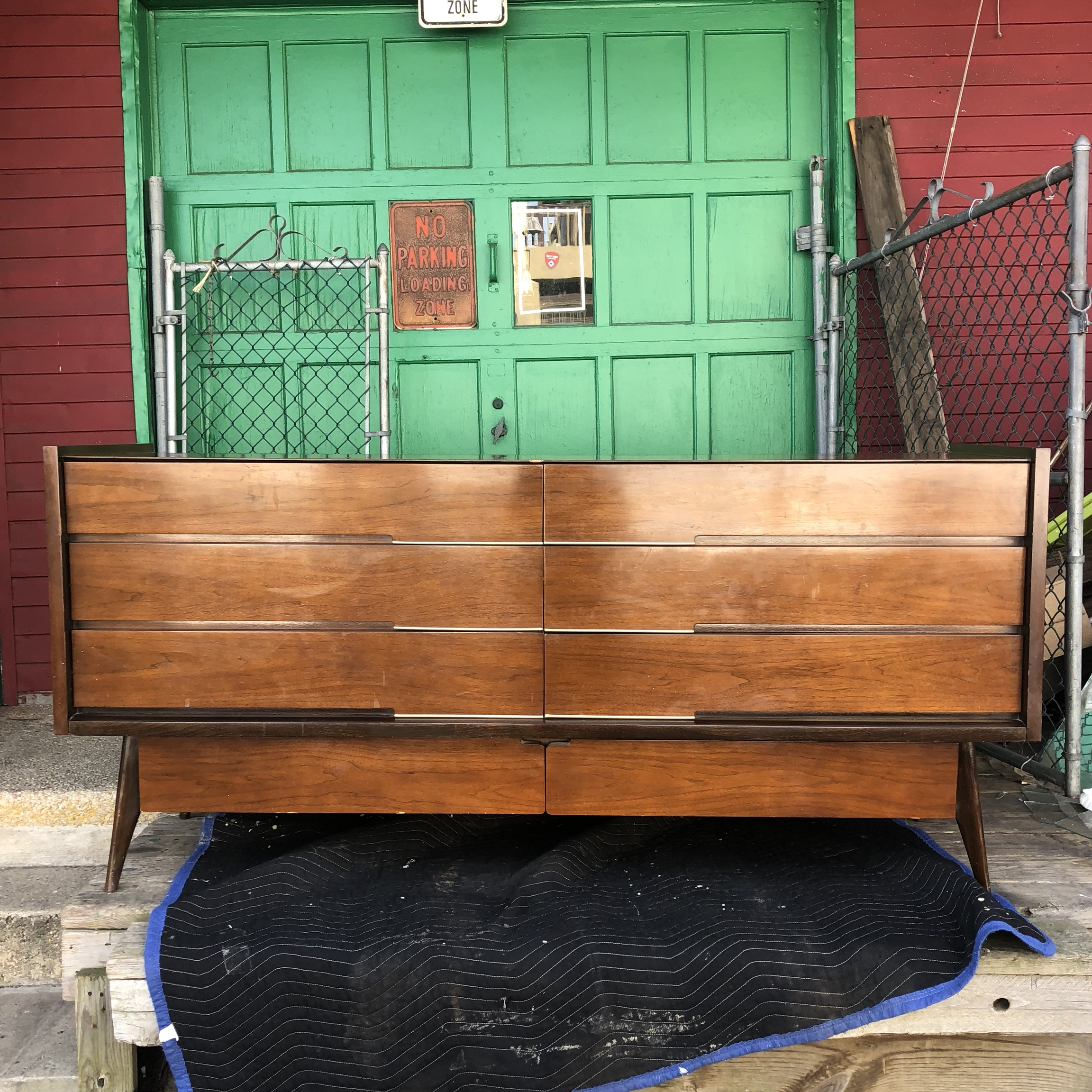 This Mid Century Low Dresser Features Solid Wood Depop