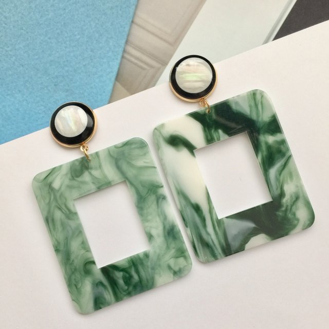Trendy green and white marble effect geometric rectangle earrings,earrings, earring ,marble earrings, green and white marble earrings, rectangle earrings,acrylic earring