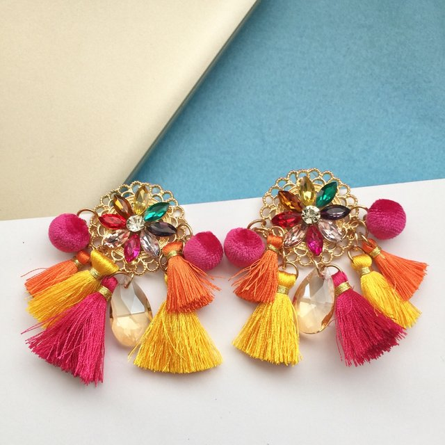 boho colourful jewel and tassel earrings,boho colourful jewel earring,colorful tassel earrings,earrings , tassel earrings