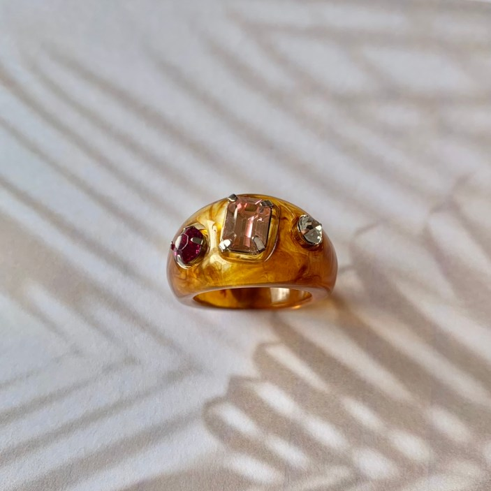 Gold chunky resin ring with three mis-matched gems