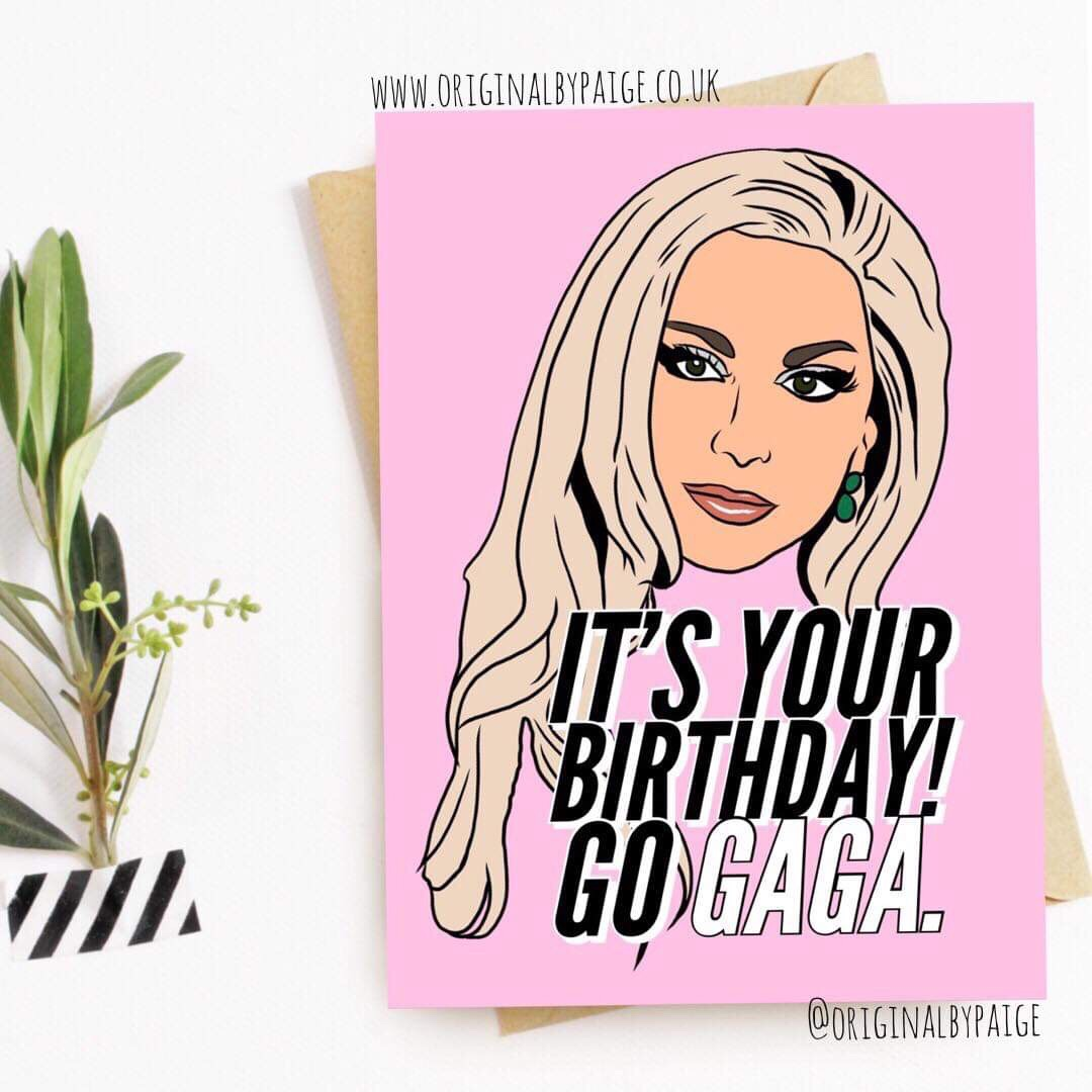 Postage Included In Price Lady Gaga Birthday Card Depop