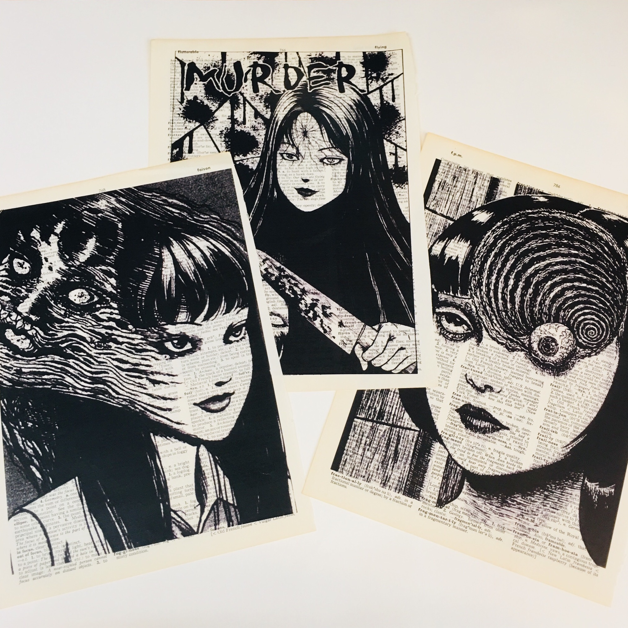 3 dictionary art print poster picture from junji ito