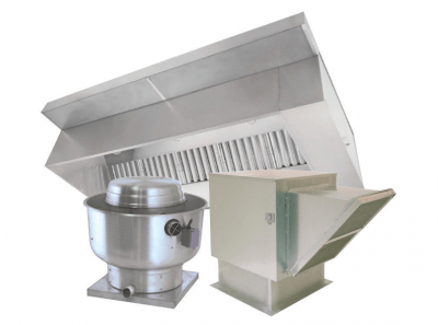 superior 10 ft restaurant grease hood system w make up air exhaust fan curbs