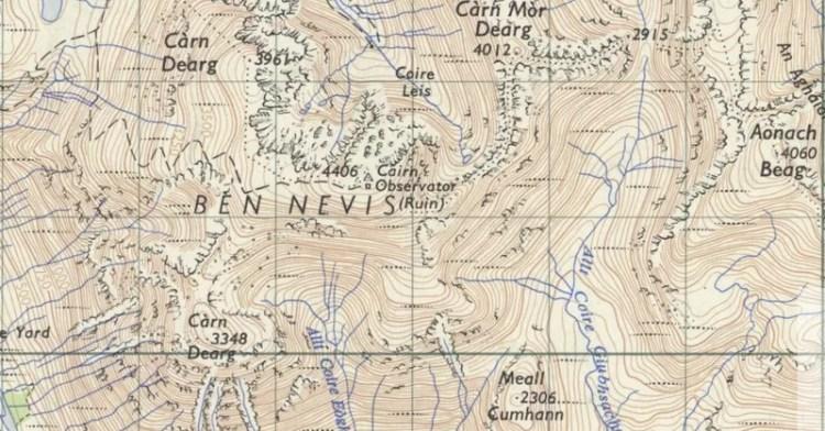 Map of Ben Nevis, Scottish Highlands