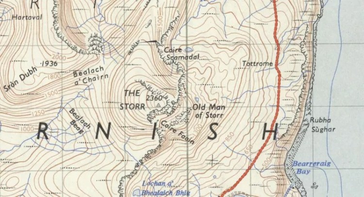 1957 Ordnance Survey Map showing the Old Man of Storr