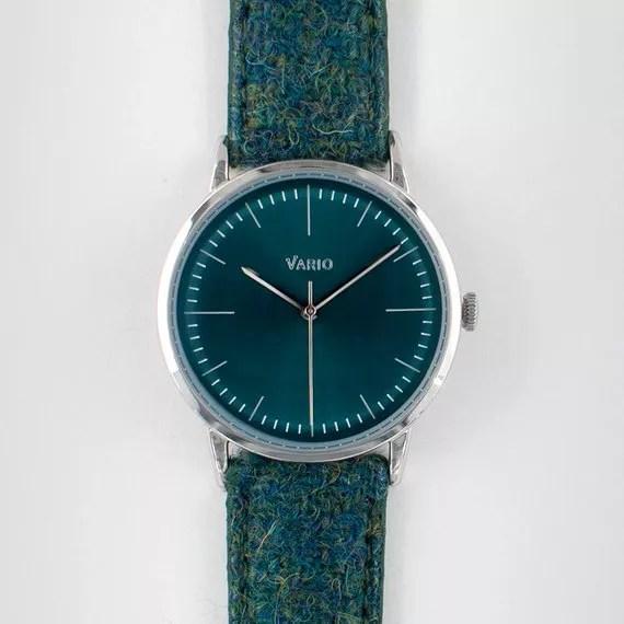 Plain green Harris Tweed watch