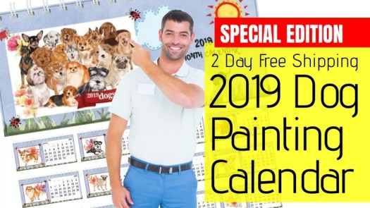 2019 Amazon Dog Desk Calendar, 2-day free shipping
