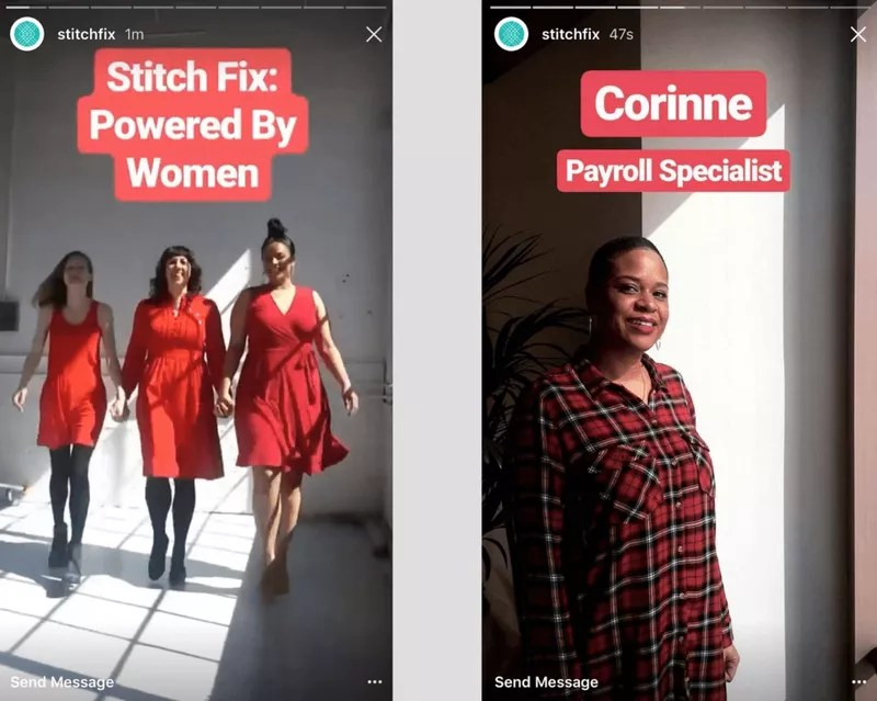 women in red clothes on Instagram stories