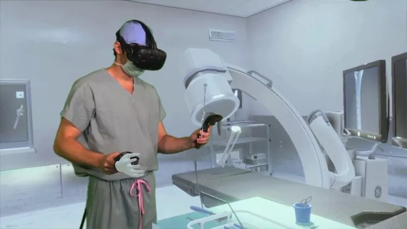 a surgeon using OSSO VR