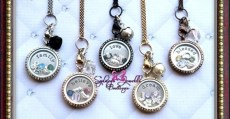 Customized Floating Locket with Chain  Stamped Plate  FIVE Charms and