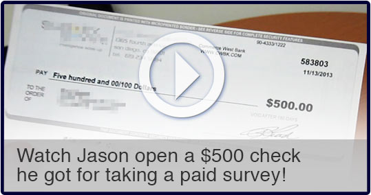 Opening the $500 check for taking surveys