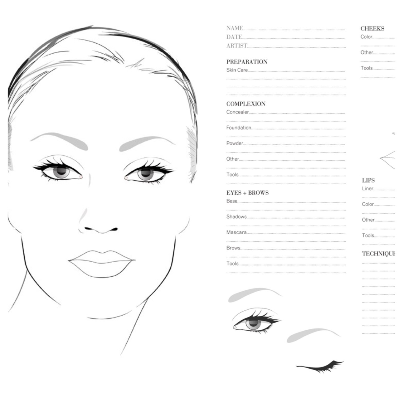 How To Apply Makeup On A Face Chart
