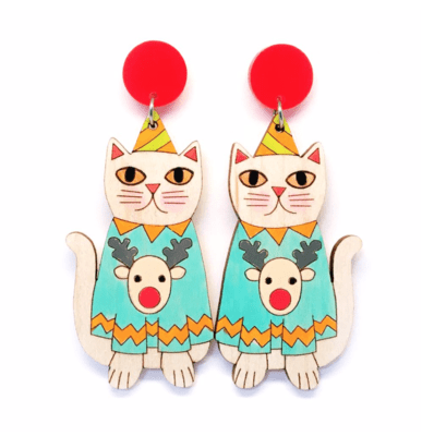 Kitty Christmas Earrings by Blossom and Cat