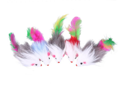 Fur and Feather Mice Toy for Cats