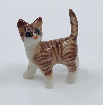 Tiny Standing Porcelain Cat Miniature