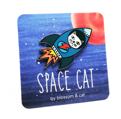 Space Cat Pin by Blossom and Cat