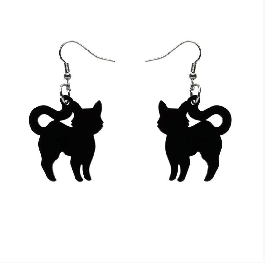 Pussy Cat Glitter Drop Earrings (black) by Erstwilder