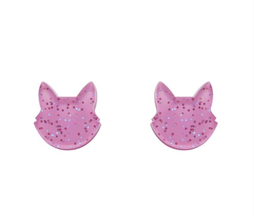 Cat Head Stud Earrings (pink) by Erstwilder