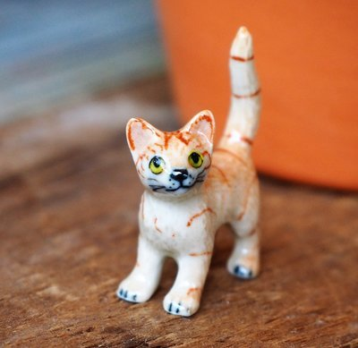Striped Tabby Kitten Miniature Figure