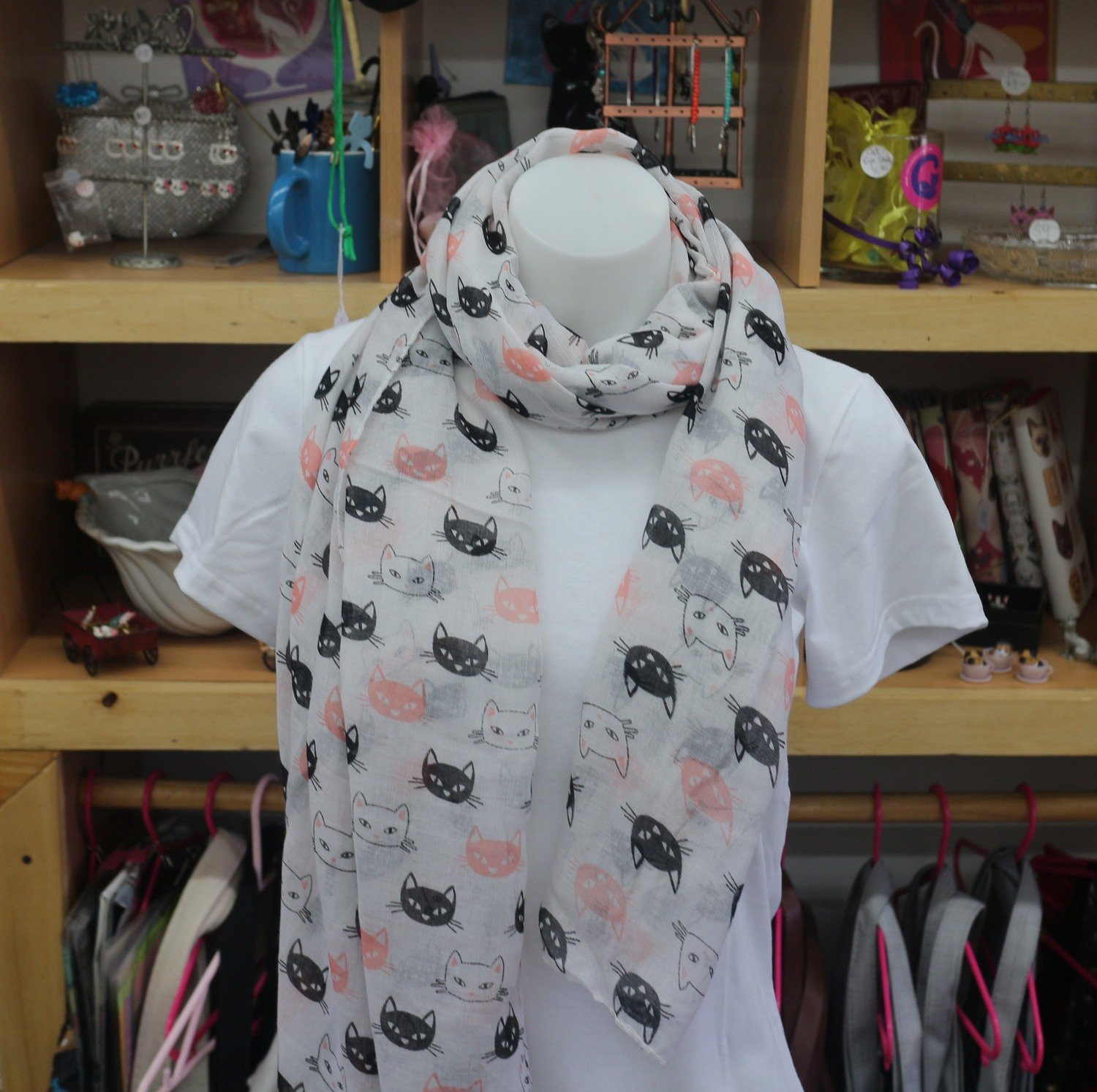 Pink, White and Black Kitty Face Lightweight Scarf
