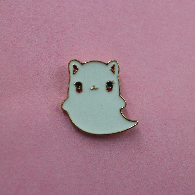 Meow, Meow, Boo Kitty Ghost Badge